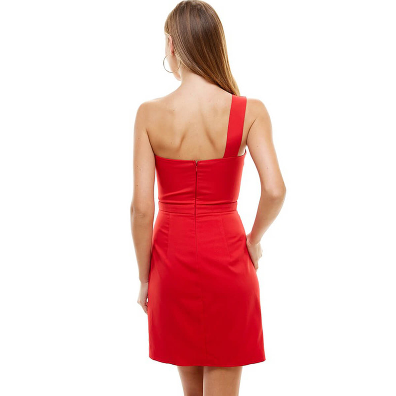 TCEC One Shoulder Dress in Red Color