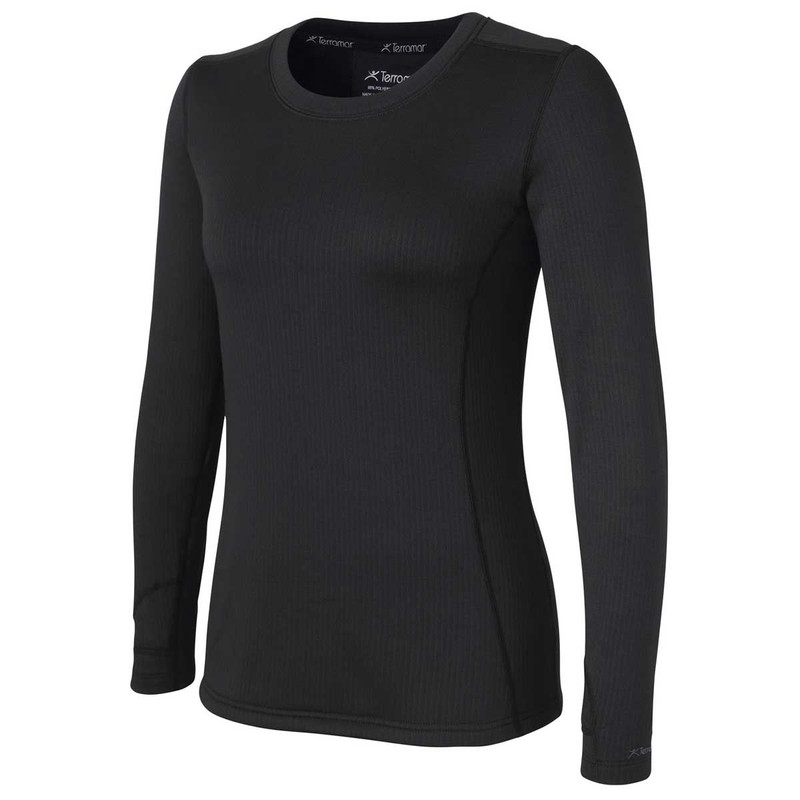 Terramar Womens Vertix Scoop Long Sleeve Top in Black Color