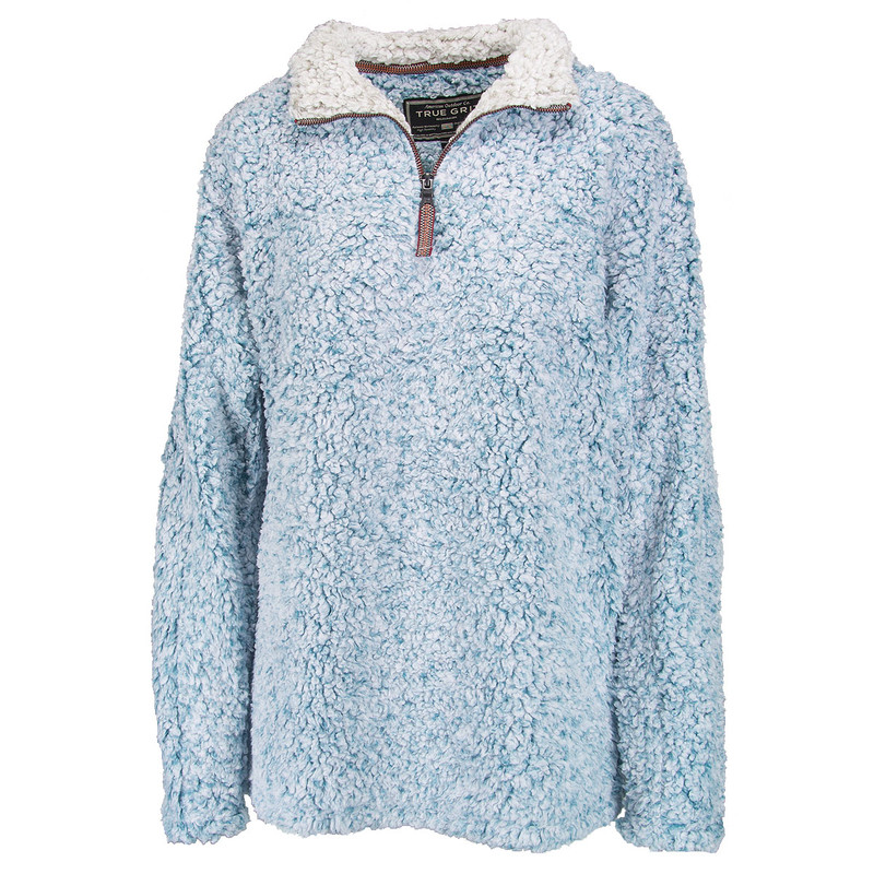 True Grit Frosty Tipped 1/4 Zip Pullover in Aqua Color