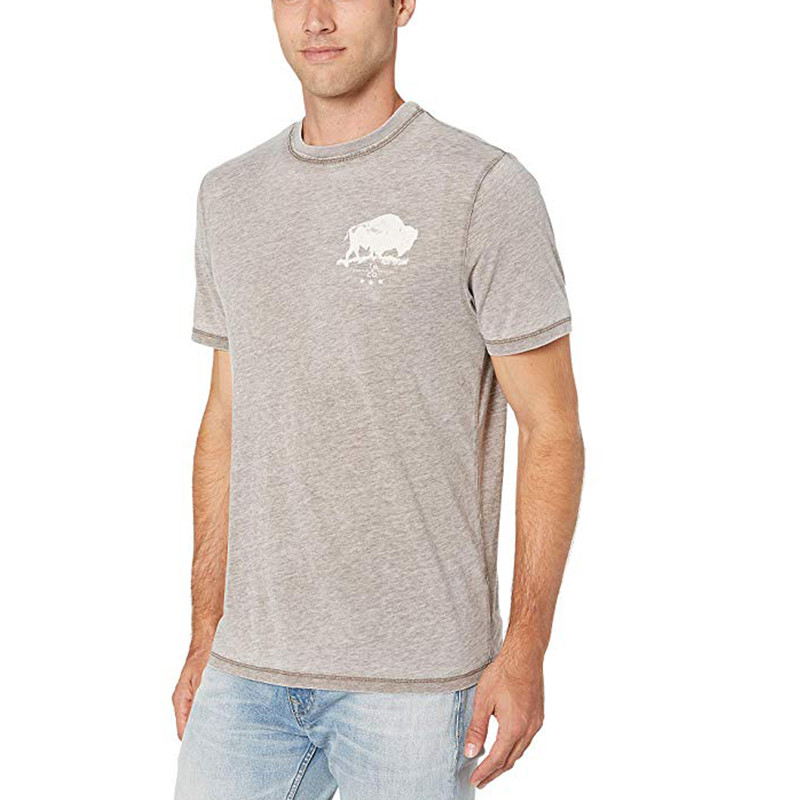 True Grit Bowery Burnout Buffalo Short Sleeve Tee in Dark Moss Color