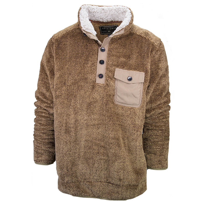 True Grit Luxe Sherpa Stripe Button Pullover in Brown Color