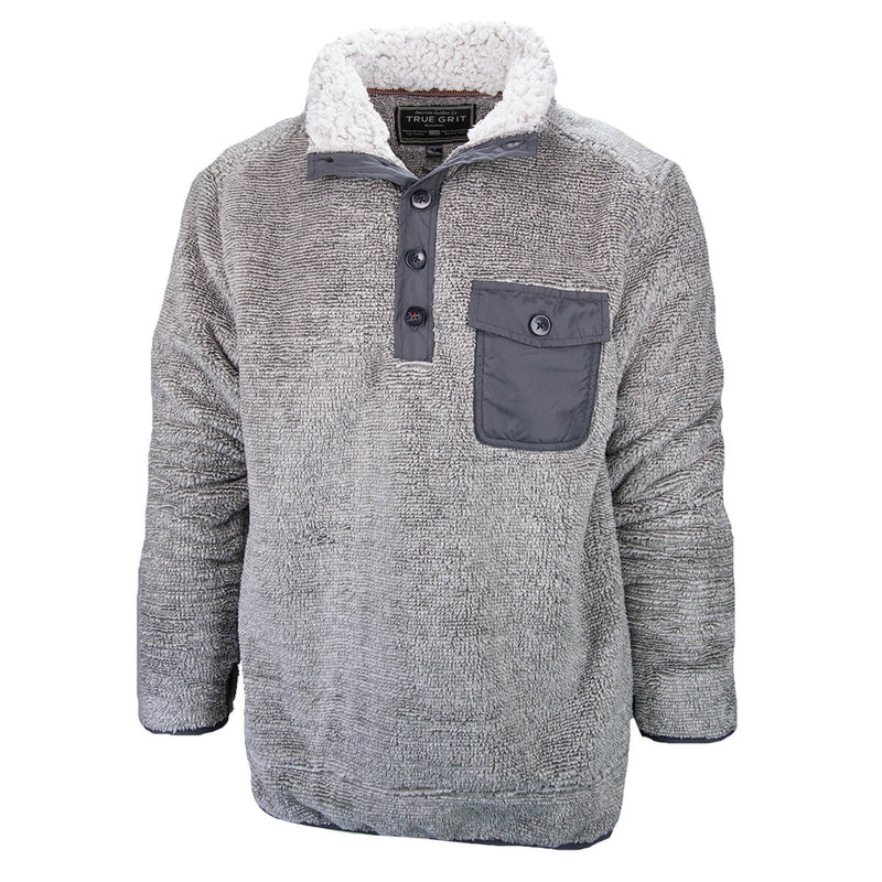 True Grit Luxe Sherpa Stripe Button Pullover in Charcoal Color