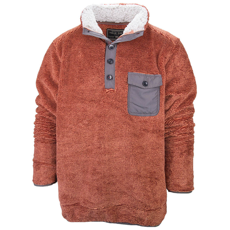 True Grit Luxe Sherpa Stripe Button Pullover in Rust Color