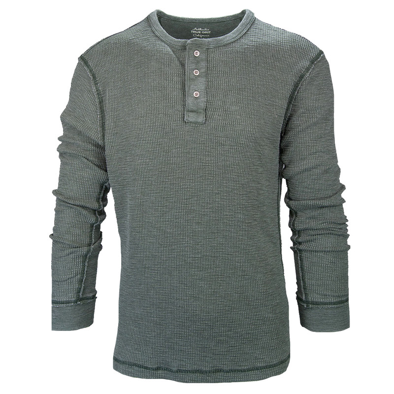 True Grit Bowery Waffle Thermal Henley w/Rib Trim in Cargo Color