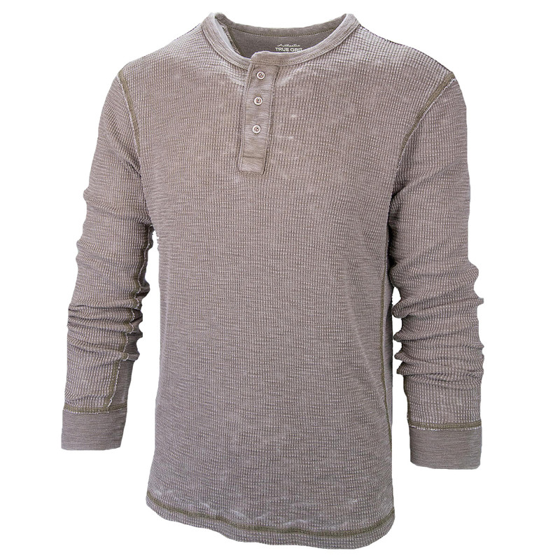 True Grit Bowery Waffle Thermal Henley w/Rib Trim in Moss Color