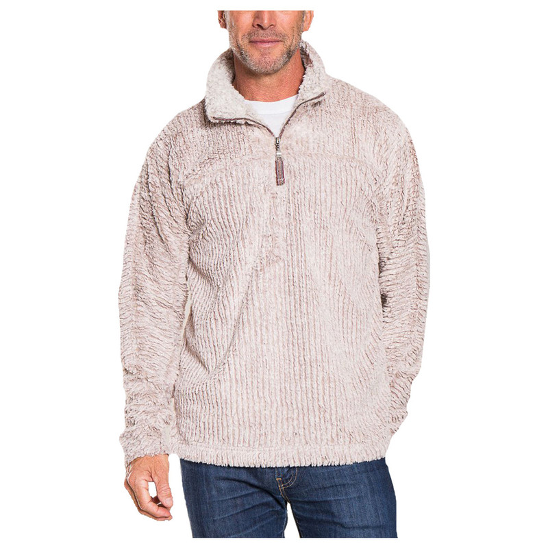 True Grit Frosty Cord Pile 1/4 Zip Pullover in Oatmeal Color