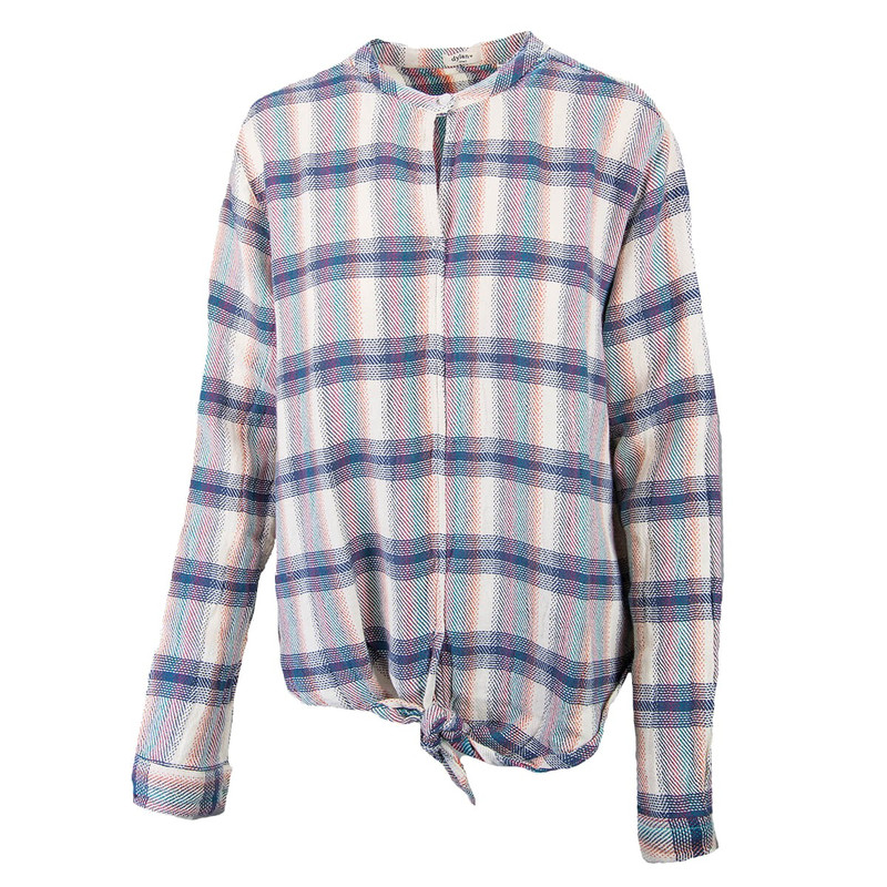 Dylan Wyatt Plaid Tie Front Blouse in Indigo Color