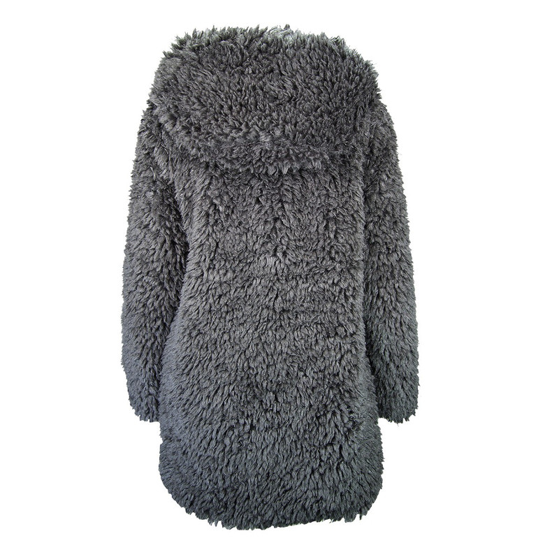 Dylan Fluffy Sherpa Hood Coat in Jet Color