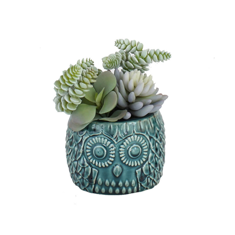Time Concept Large Ceramic Owl Pot Imitation Plant
