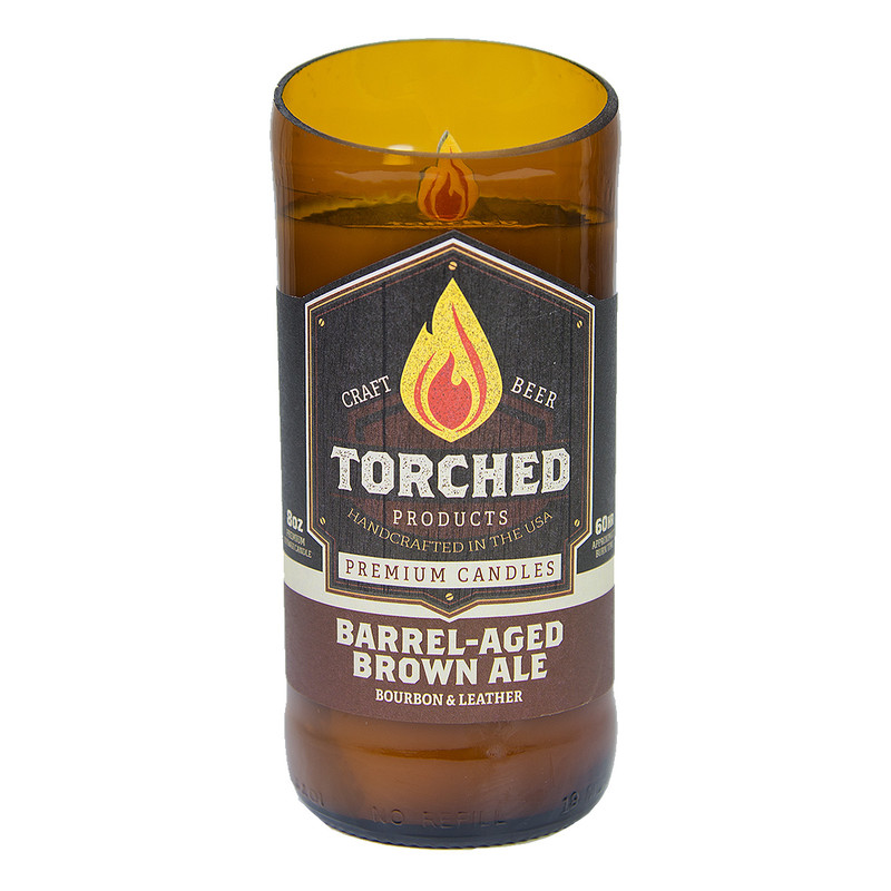 Torched Beer Bottle Candle 8oz in Barrel Aged Brown Ale Flavor