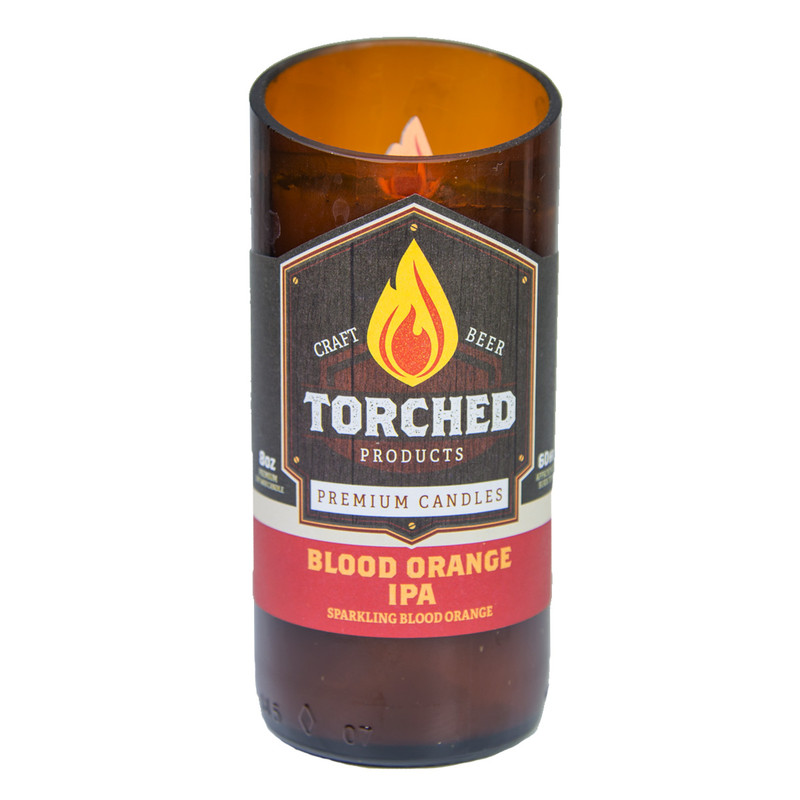 Torched Beer Bottle Candle 8oz in Blood Orange IPA Flavor