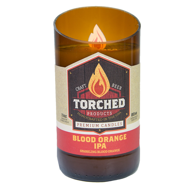 Torched Bomber Bottle Candle 11oz in Blood Orange IPA Flavor