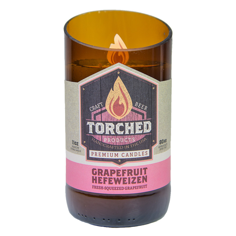 Torched Bomber Bottle Candle 11oz in Grapefruit Hefeweizen Flavor