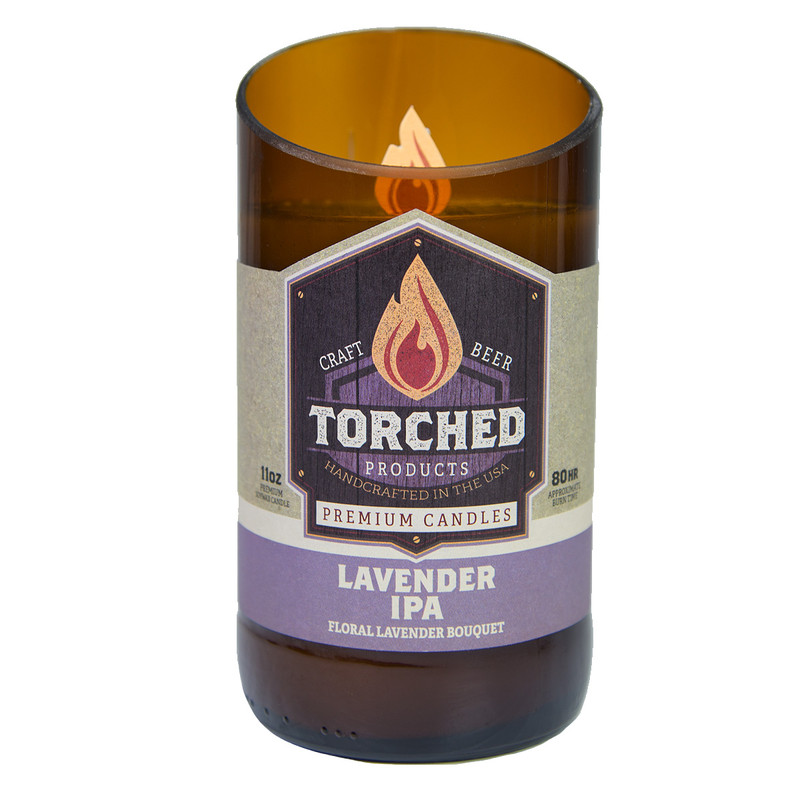 Torched Bomber Bottle Candle 11oz in Lavender IPA Flavor