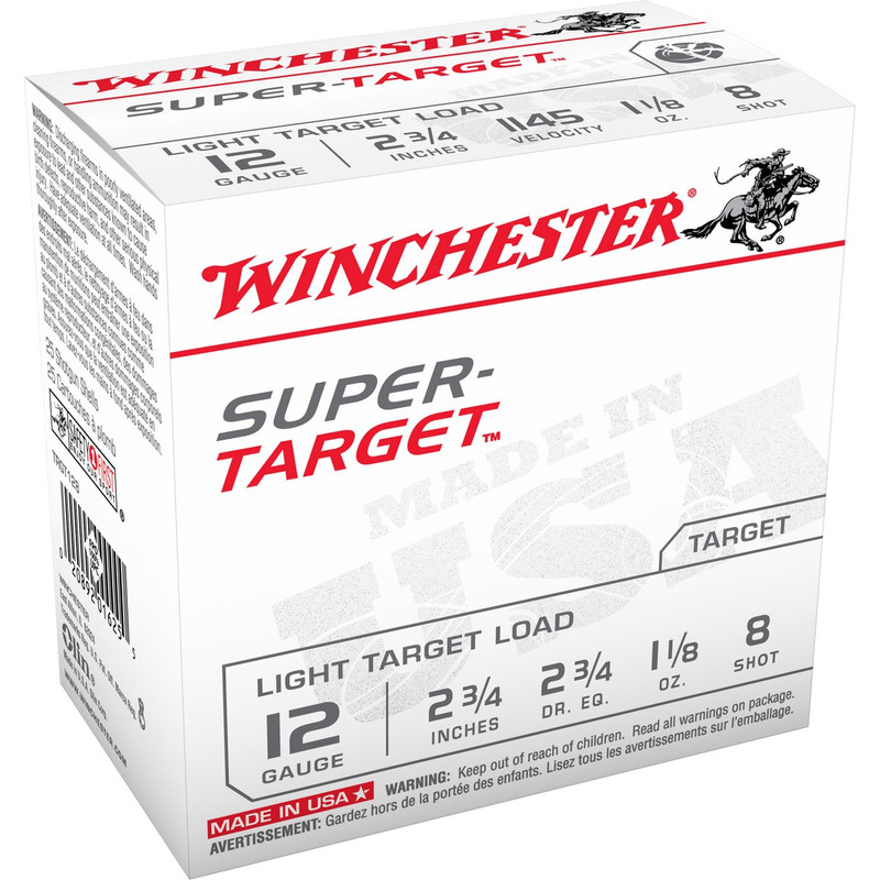 "Winchester Super Target 12 Ga 2 3/4"" 1-1/8 Oz - Box 25 Rd in Shot Size 8 Ammo Size"