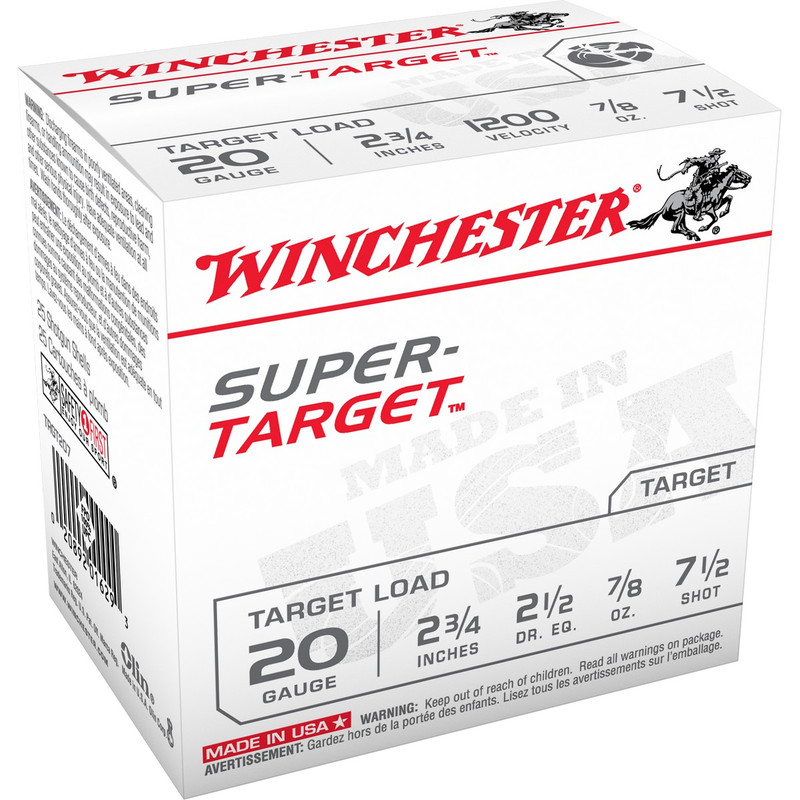 "Winchester TRGT20 Super Target 20 Ga 2 3/4"" 7/8 Oz - Box in Shot Size 7.5 Ammo Size"