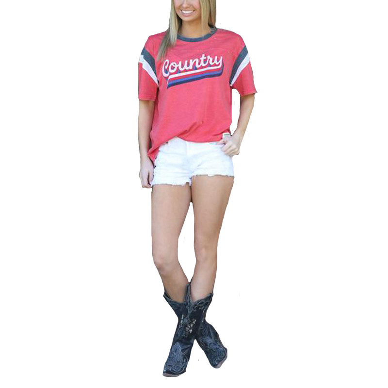 Turnrows Ladies Country Scripit Short Sleeve Shirt in Red White Navy Color