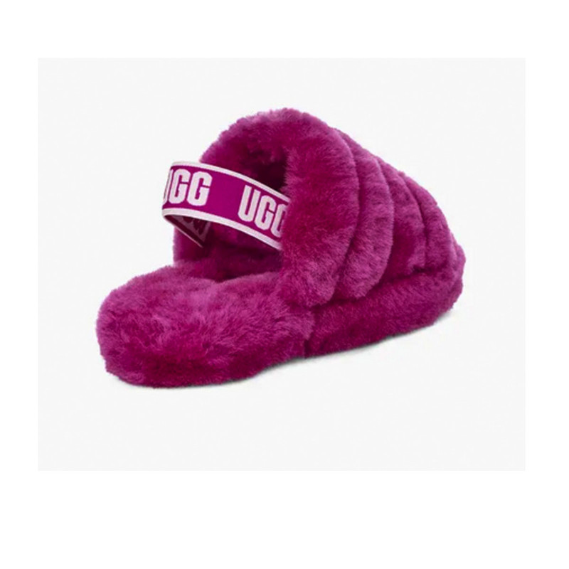 UGG Youth Fluff Yeah Slide in Fuchsia Color