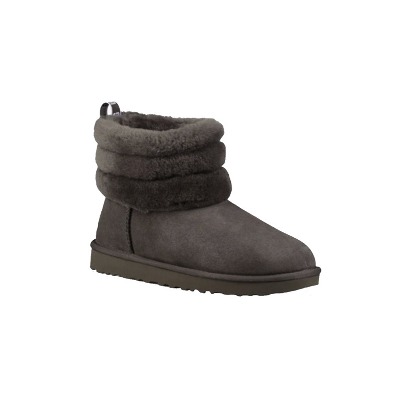 Ugg Youth Fluff Mini Quilted in Charcoal Color
