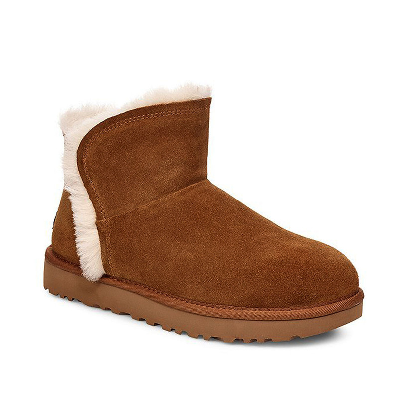 Ugg Classic Mini Fluff High-Low Boot in Chestnut Color