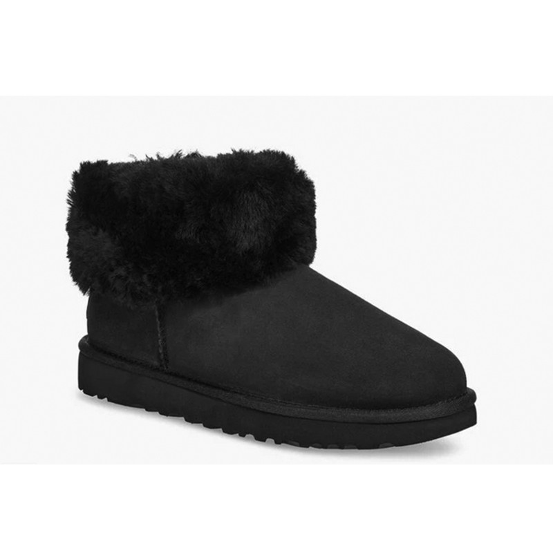 Ugg Classic Mini Fluff Boot in Black Color