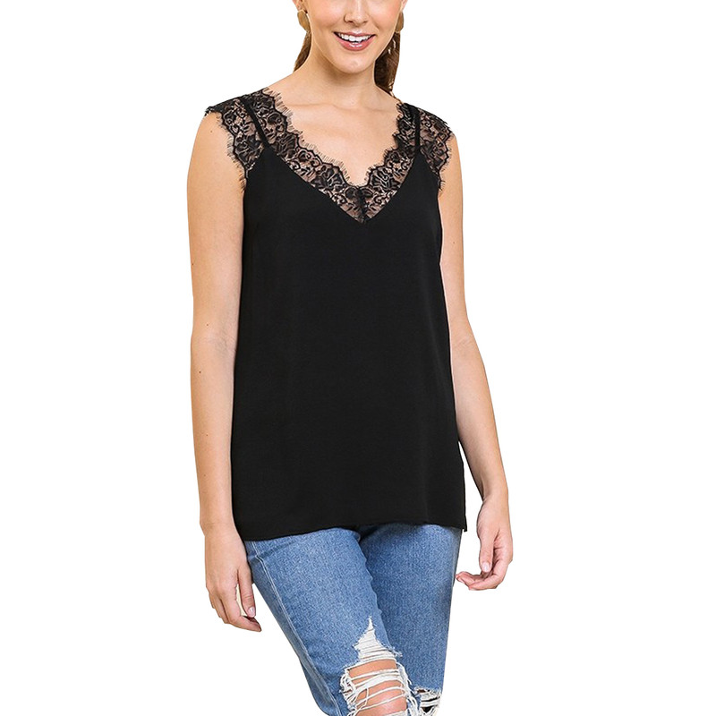Umgee V-Neck Floral Lace Cami Top in Black Color
