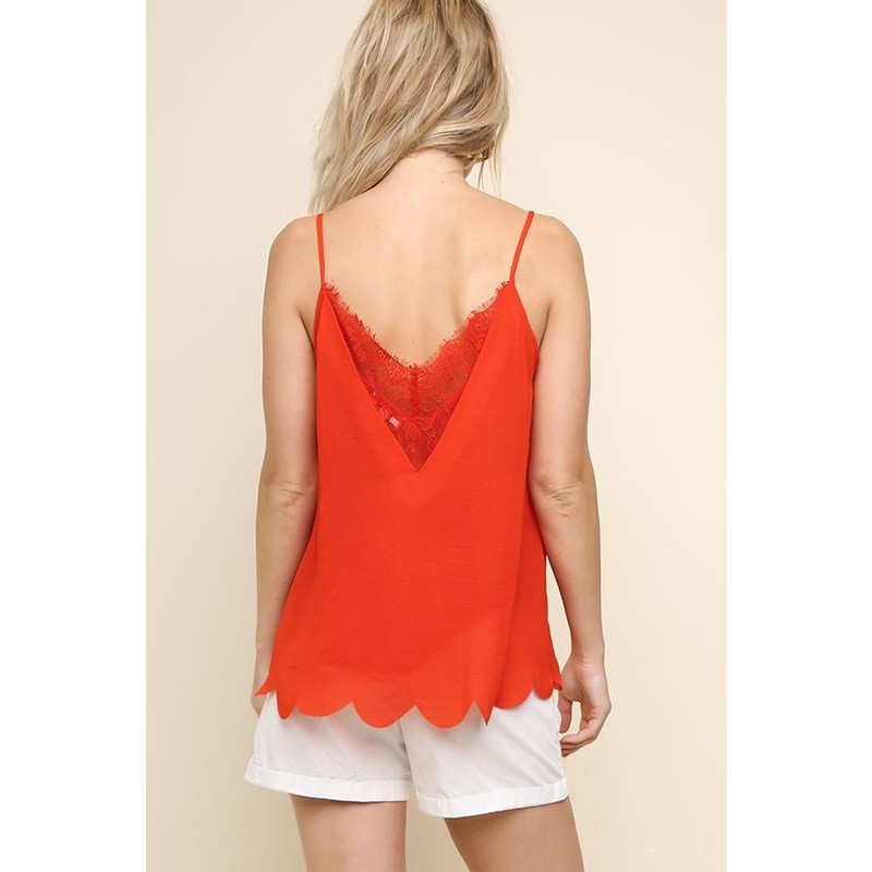 Umgee V-Neck Eyelash Trim Cami Top w/Scalloped Hem in Tomato Color