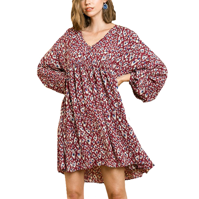 Umgee Animal Print Puff Sleeve V-Neck Baby Doll Dress in Wine Color
