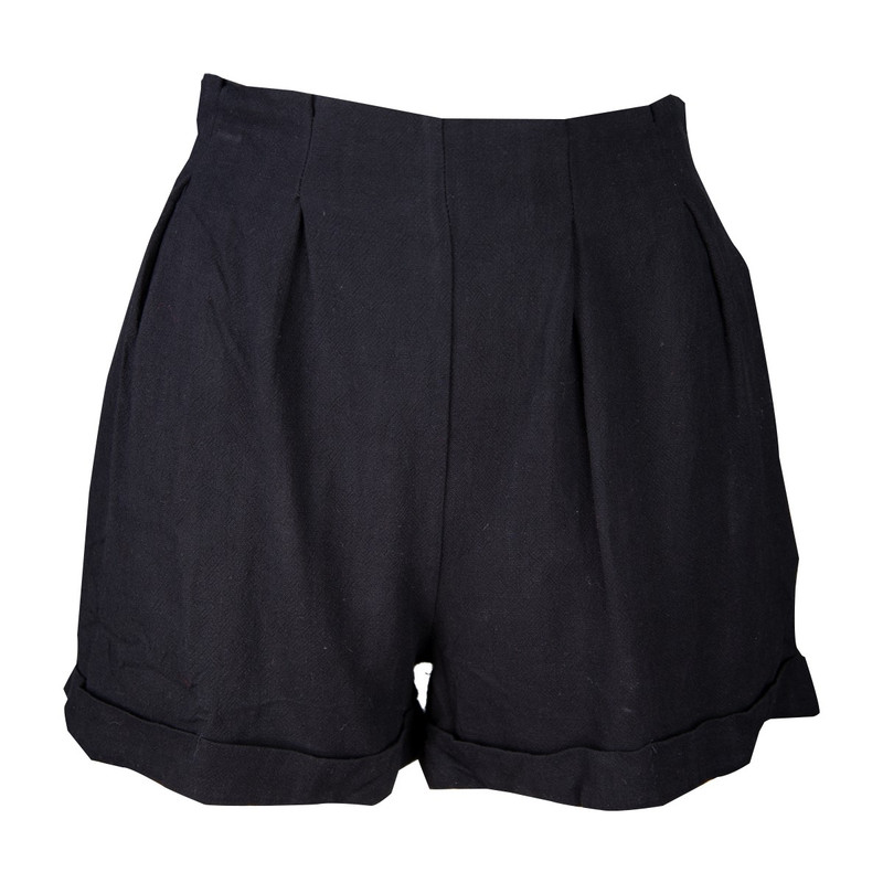 Umgee High & Pintuck Waist Shorts w/Pocket in Black Color