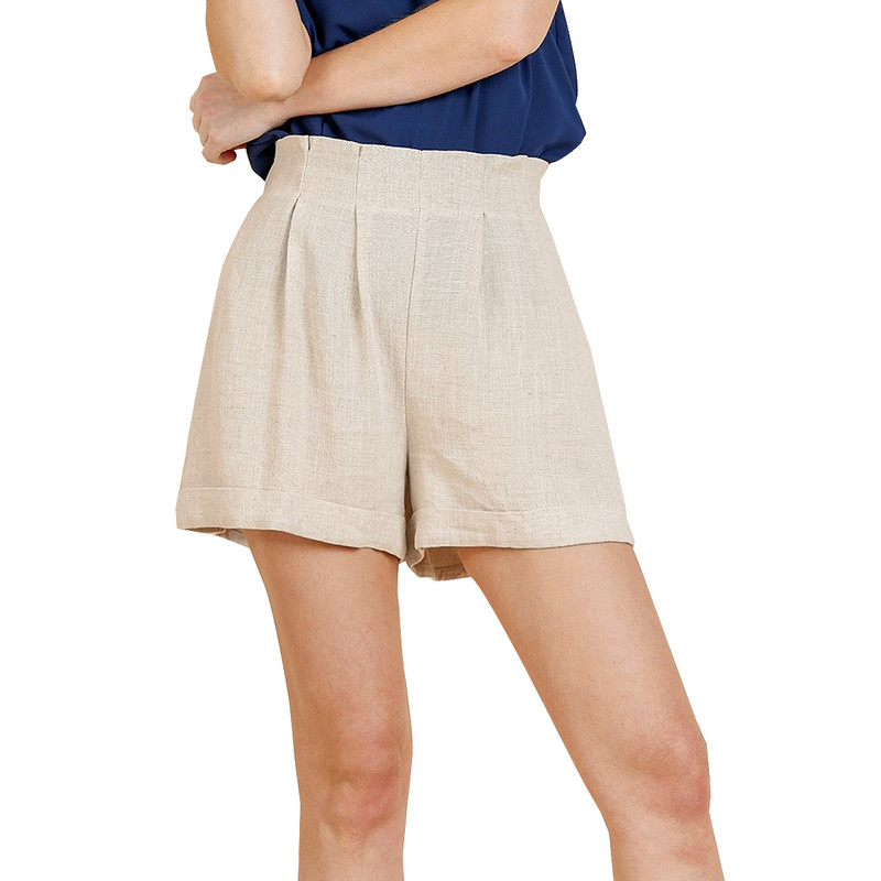 Umgee High & Pintuck Waist Shorts w/Pocket in Oatmeal Color