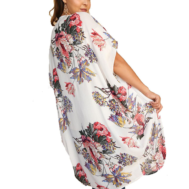 Floral Sheer Kimono in Off White Mix