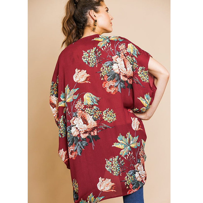 Floral Sheer Kimono in Wine Color