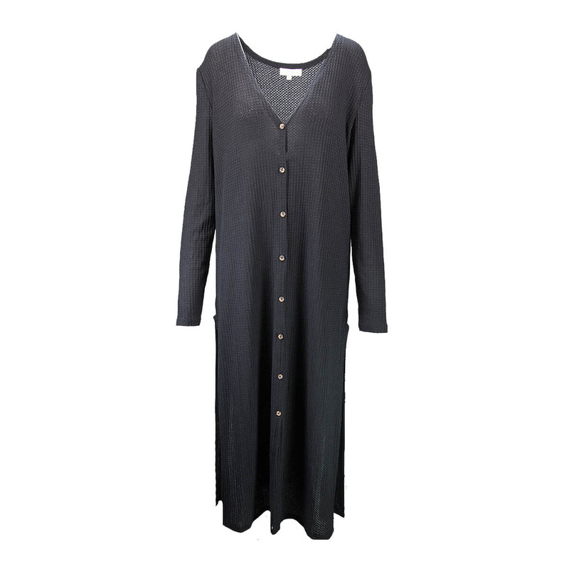 Waffle Knit Long Sleeve Button Front Long Cardigan in Black Color