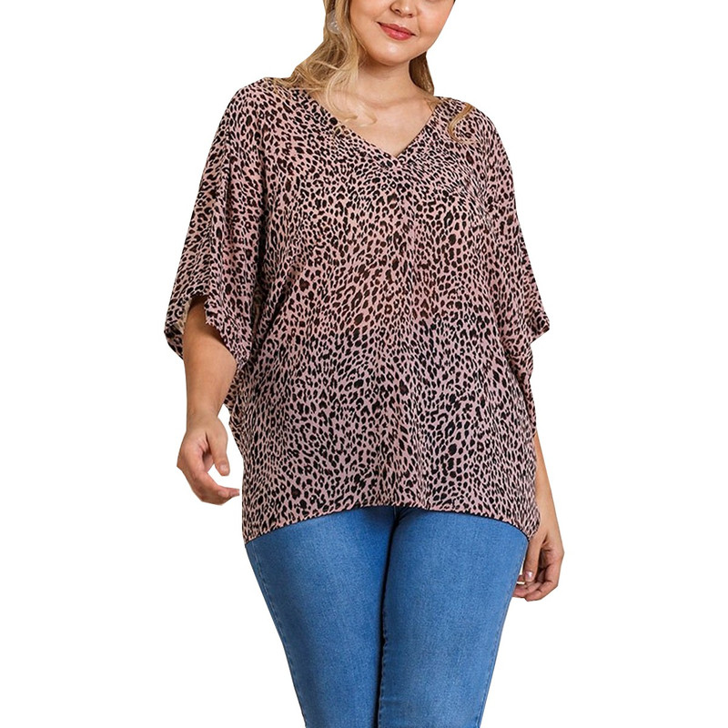 Umgee Animal Print V-Neck Top w/Crisscross Knot Back in Dusty Pink Color