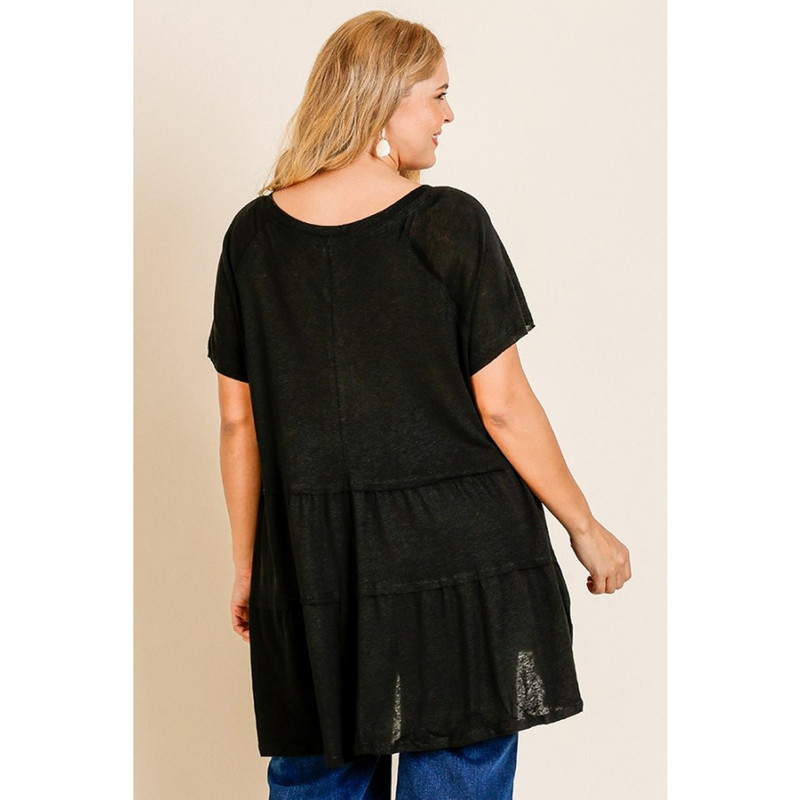 Umgee Short Sleeve Slub V-Neck Ruffle Hem Tunic in Black Color
