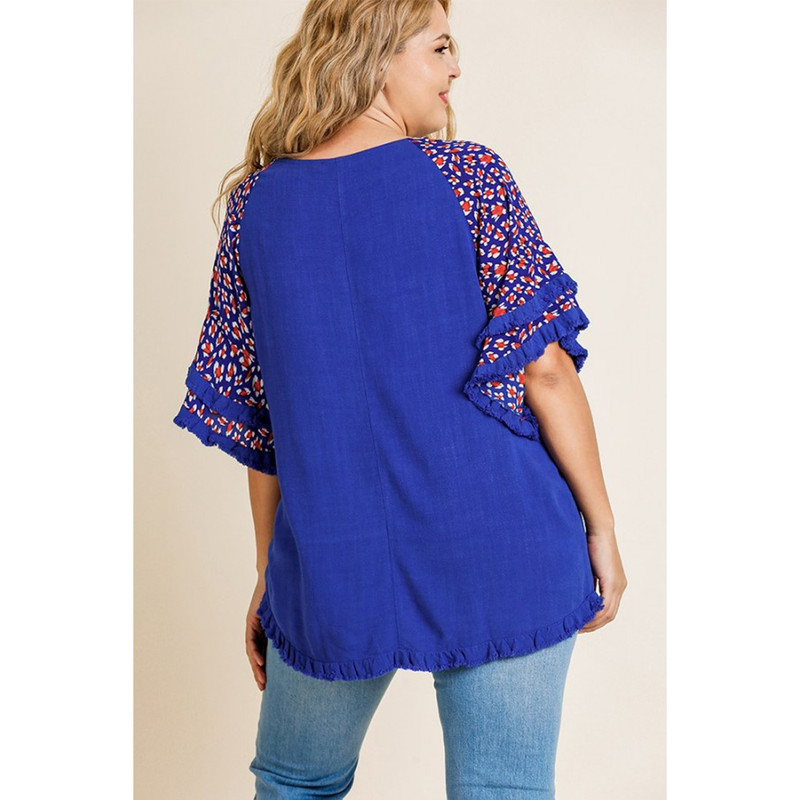 Umgee Animal Print Layered Bell Ruffle Sleeve Top in Cobat
