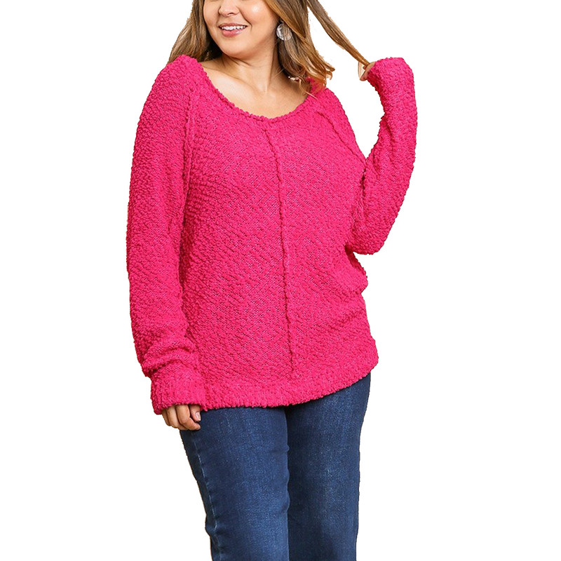 Umgee Plus Size Pullover Sweater With Exposed Hem in Hot Pink