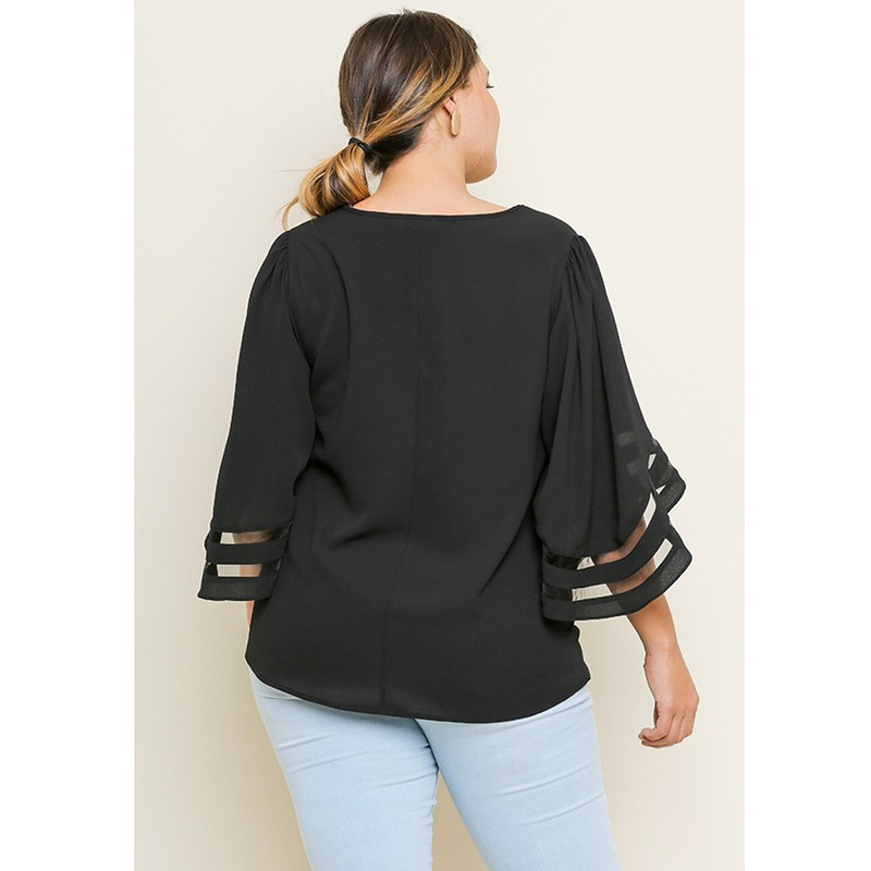 Umgee Plus Size Round Neck Top With Burnout Sleeve Detail in Black Color