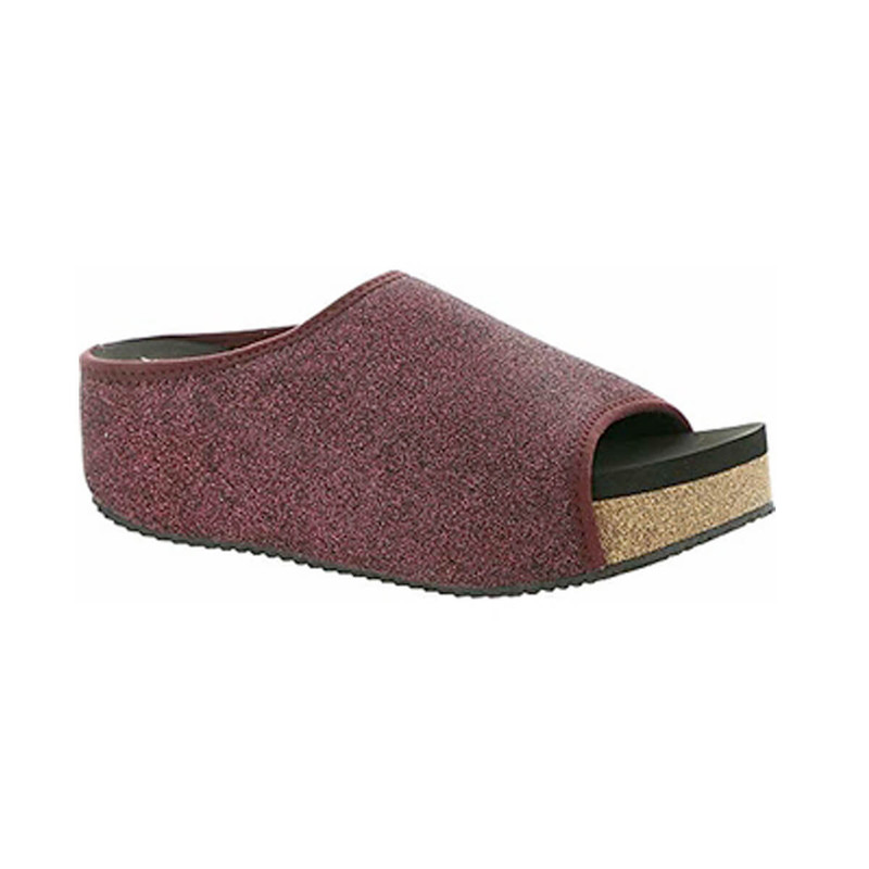 Volatile Festina Metallic Flyknit Wedge Slide in Wine Color