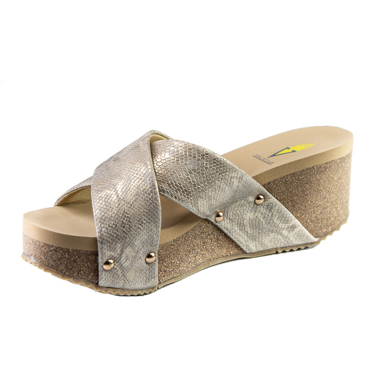Volatile Riverside Snake Print Criss Cross Slide Wedge in Gold Color