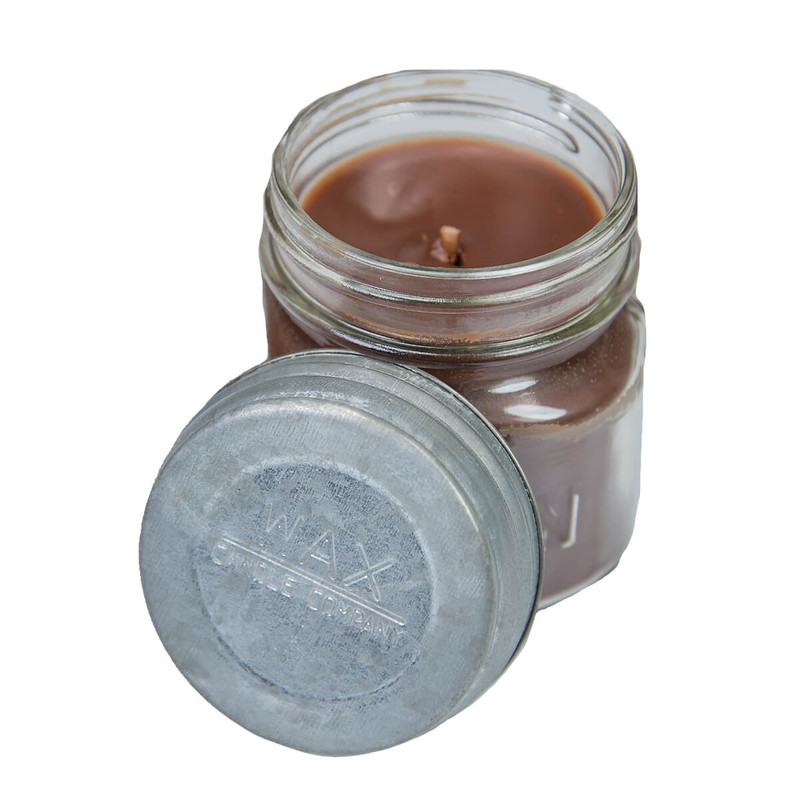 Wax Mason Jar Candle 8oz in Tobacco Leaf