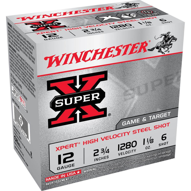 "Winchester WE12GTH Xpert Upland Steel 12 Ga 2 3/4"" 1-1/8 Oz - Case in Shot Size 6 Ammo Size"