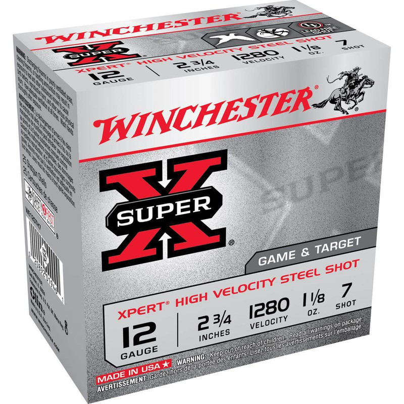 "Winchester WE12GTH Xpert Upland Steel 12 Ga 2 3/4"" 1-1/8 Oz - Case in Shot Size 7 Ammo Size"