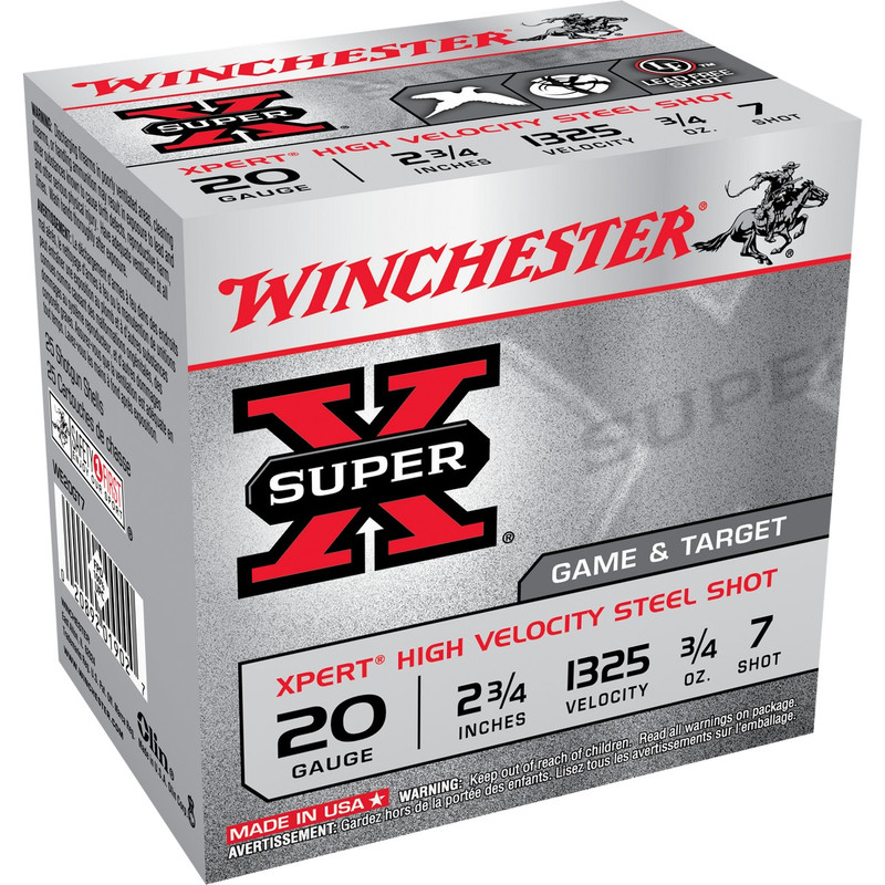 "Winchester WE20GT Xpert Steel 20 Ga 2 3/4"" 3/4 Oz - Case in Shot Size 7 Ammo Size"