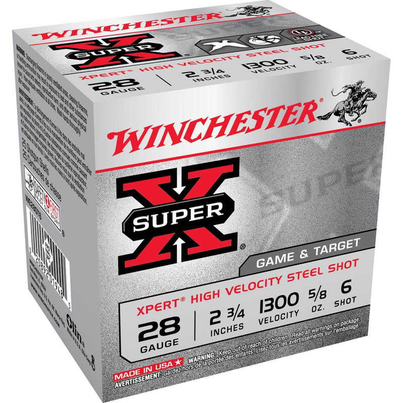 "Winchester WE28GT Xpert Steel 28 Ga 2 3/4"" 5/8 Oz - Case in Shot Size 6 Ammo Size"