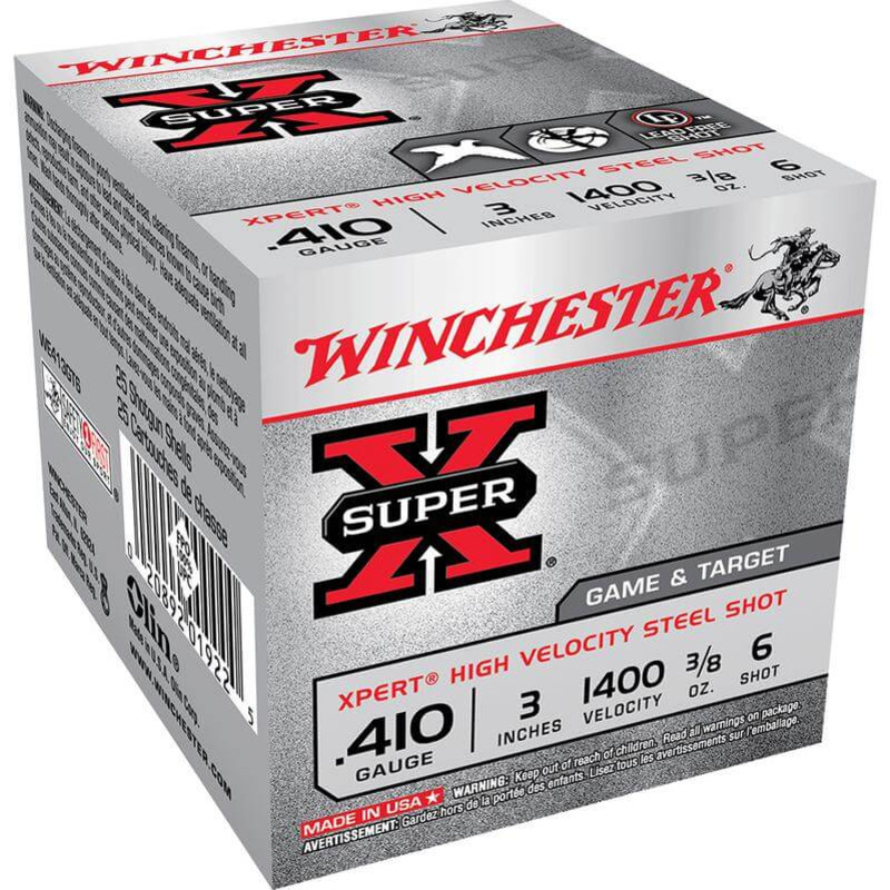 "Winchester WE413GT Xpert Steel 410 Ga 3"" 3/8 Oz - Box in Shot Size 6 Ammo Size"
