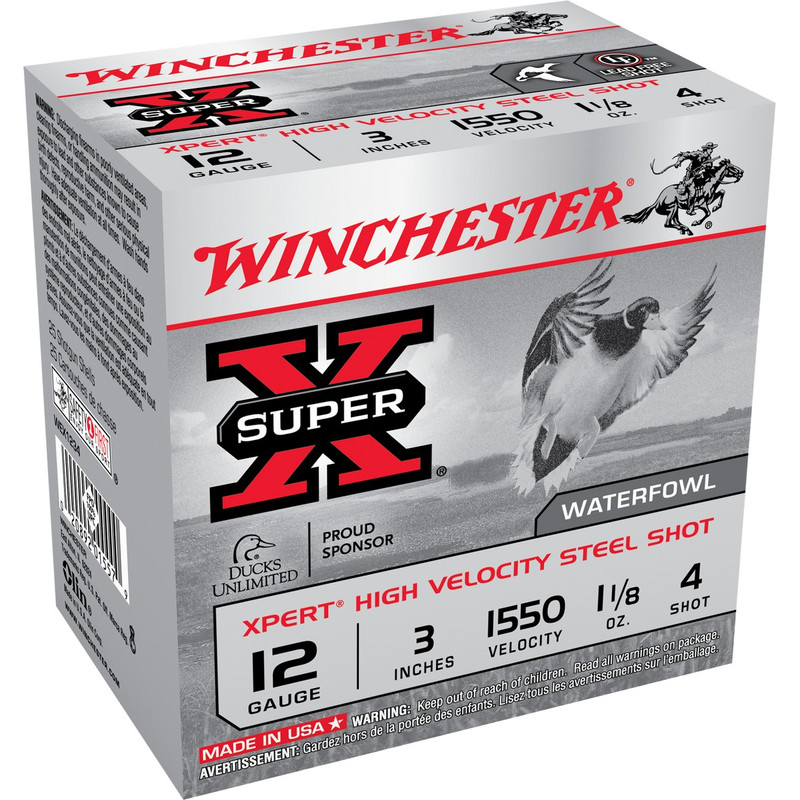 "Winchester WEX123 Xpert HV 12 Ga 3"" 1-1/8 Oz - Case in Shot Size 4 Ammo Size"