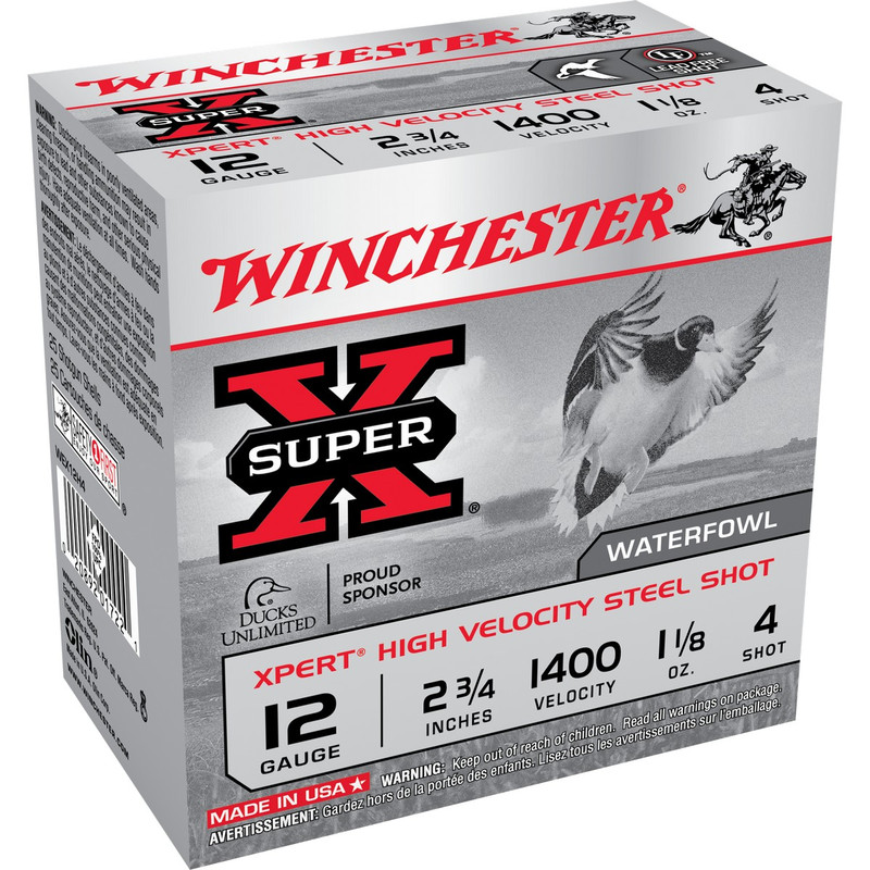 "Winchester WEX12H Xpert HV 12 Ga 2 3/4"" 1-1/8 Oz - Case in Shot Size 4 Ammo Size"