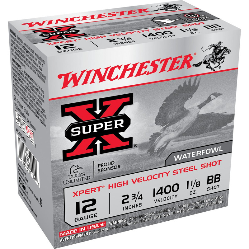 "Winchester WEX12H Xpert HV 12 Ga 2 3/4"" 1-1/8 Oz - Case in Shot Size BB Ammo Size"