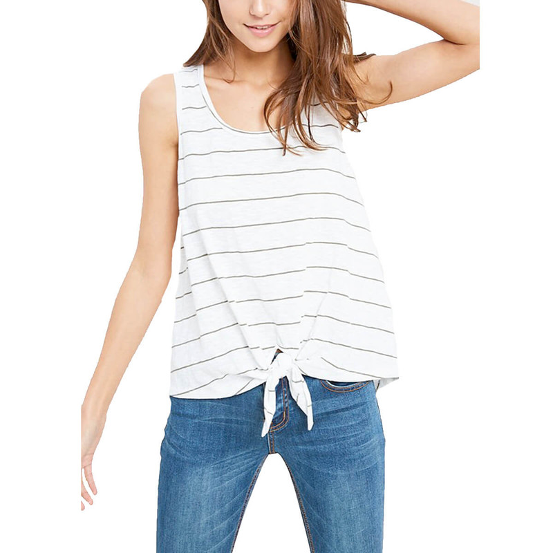 Not So Serious Stripe Tank in Olive Color